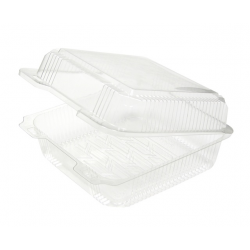 Salad Containers, Plastic, Hinged Lids, 8 X 8, 200 pcs