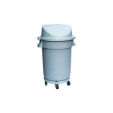 Waste Container - Dome Lid Push Door+Wheels